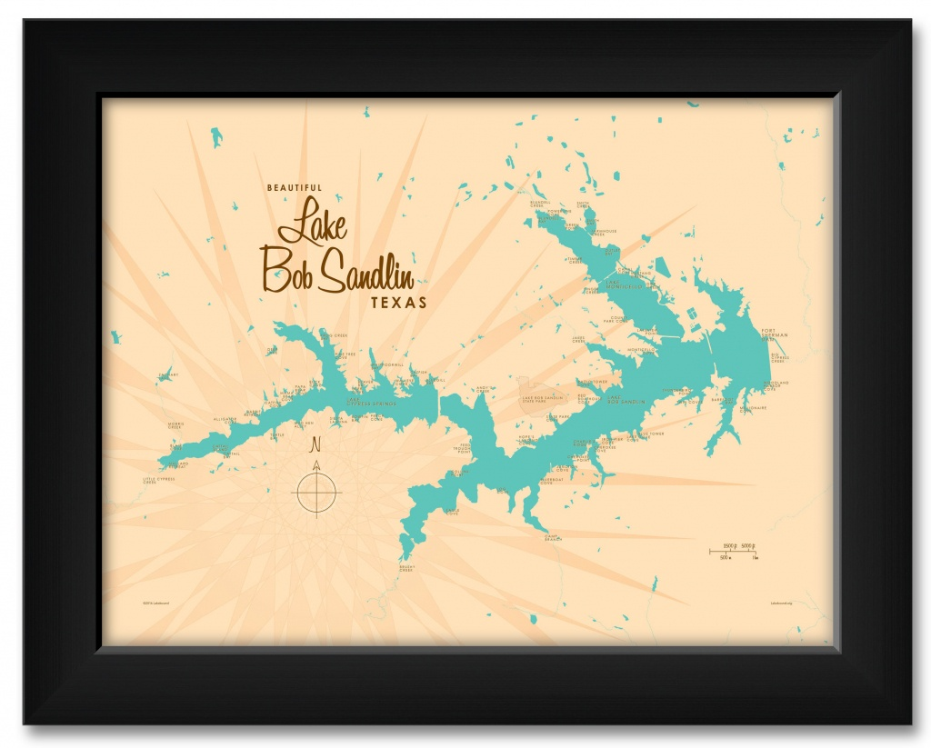 Lake Bob Sandlin Texas Map Framed Art Printlakebound . Print - Texas Map Framed Art
