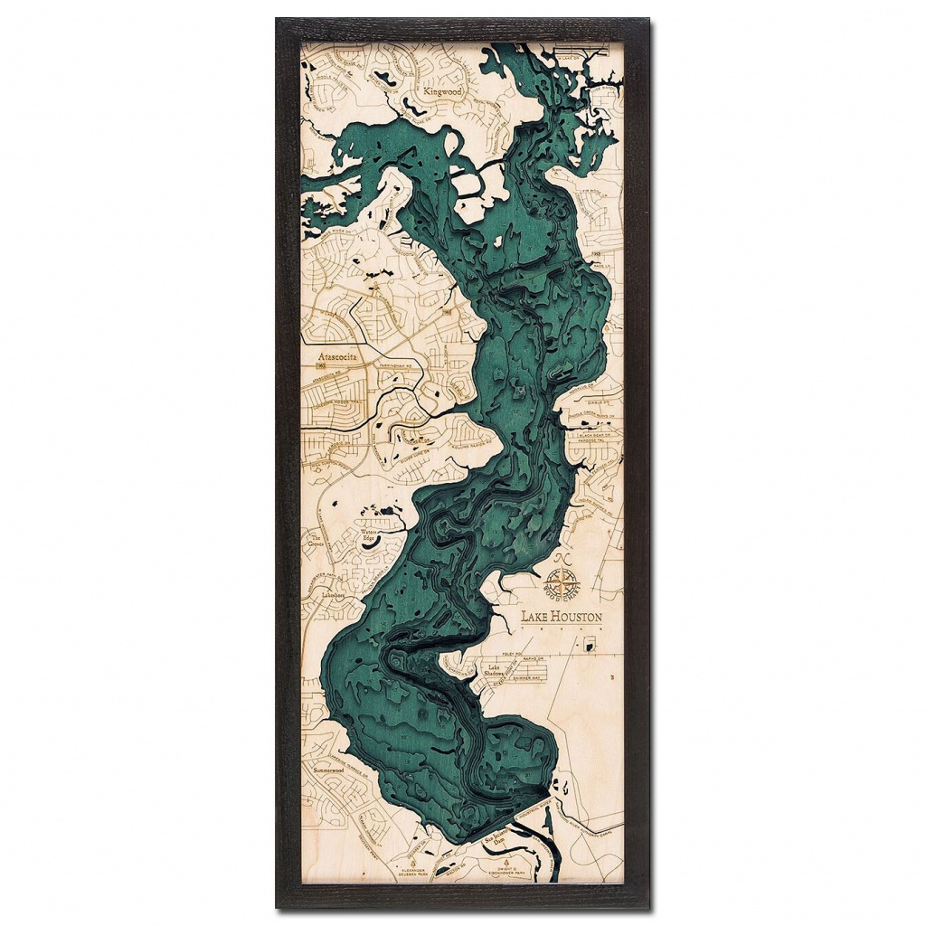 Lake Houston, Tx 3D Wood Map   Framed 3D Topographic Wood Chart - 3D Topographic Map Of Texas