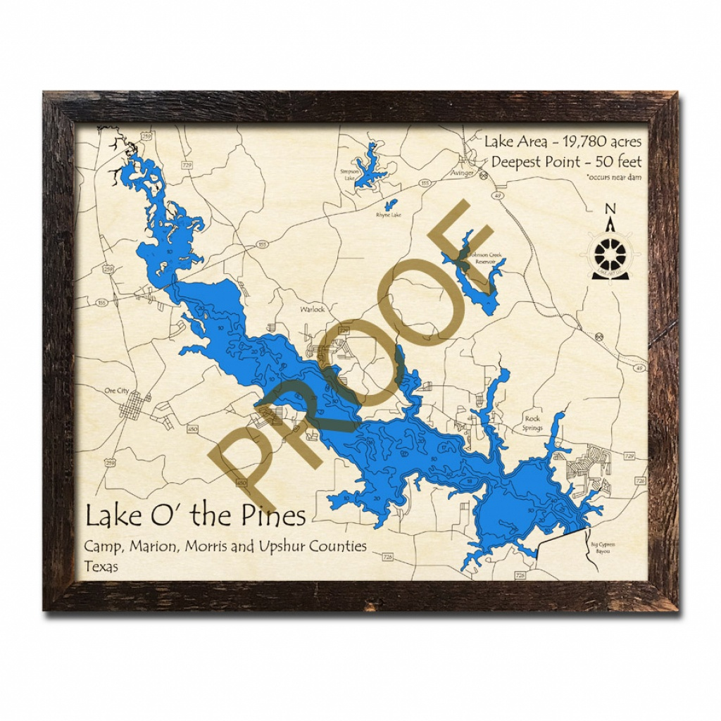 Lake 'o The Pines, Tx 3D Wooden Map | Framed Topographic Wood Chart - Lake Of The Pines Texas Map