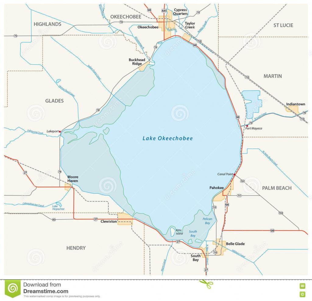 Lake Okeechobee Map Stock Illustration. Illustration Of America - Lake Okeechobee Florida Map