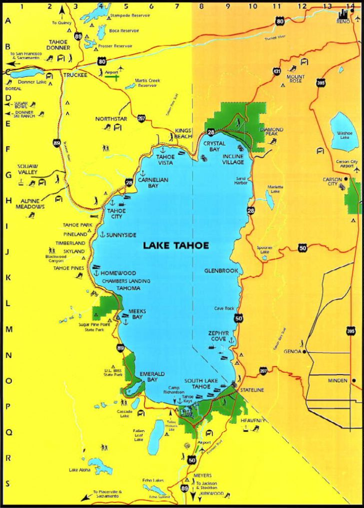 Lake Tahoe California Map