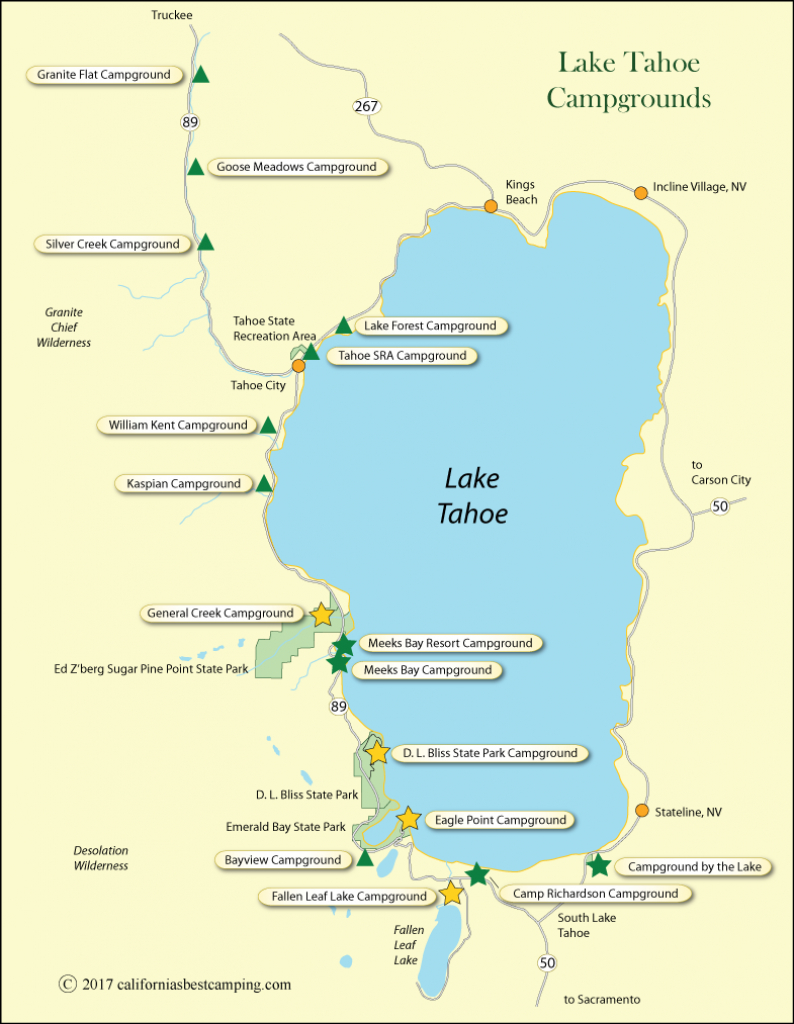 Lake Tahoe Campground Map - California - California Camping Sites Map