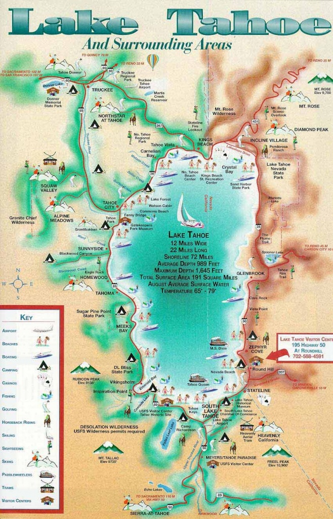 Lake Tahoe Map Camped At The Lake When I Was A Teenager In - Printable Map Of Lake Tahoe