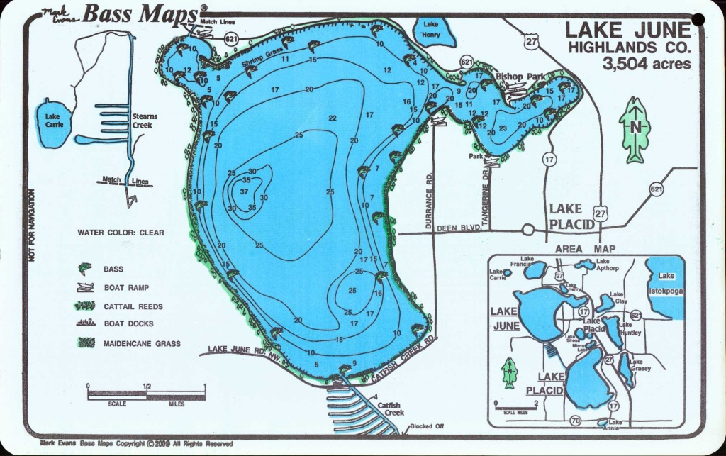 Lakes Placid / June Bass Map (2-Sided Map) - Mark Evans Maps - Lake Placid Florida Map