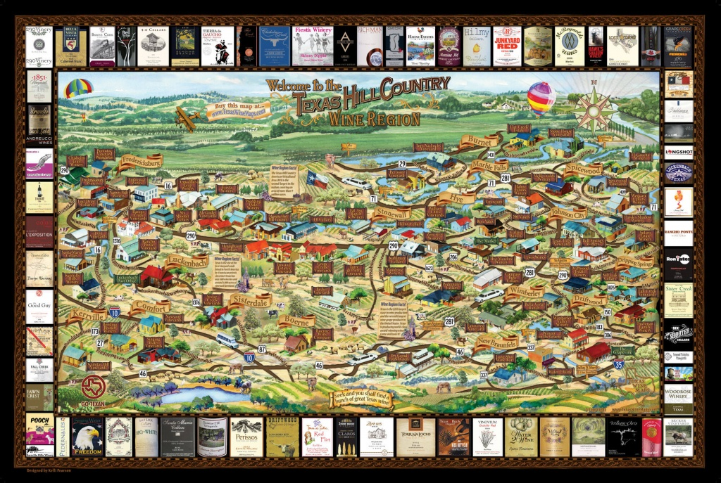 Laminated Texas Wine Map   Texas Wineries Map  Texas Hill Country - Texas Hill Country Wine Trail Map