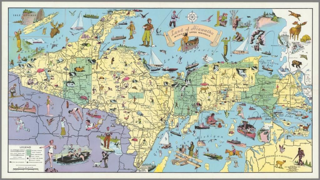 Land Of Hiawatha, Michigan's Upper Peninsula - David Rumsey - Printable Map Of Upper Peninsula Michigan