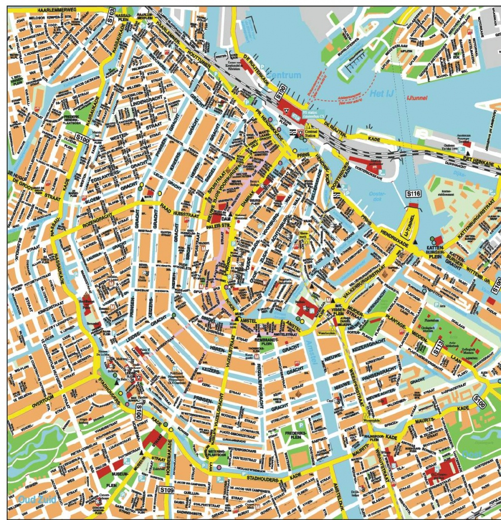 Large Amsterdam Maps For Free Download And Print | High-Resolution - Printable Map Of Amsterdam City Centre