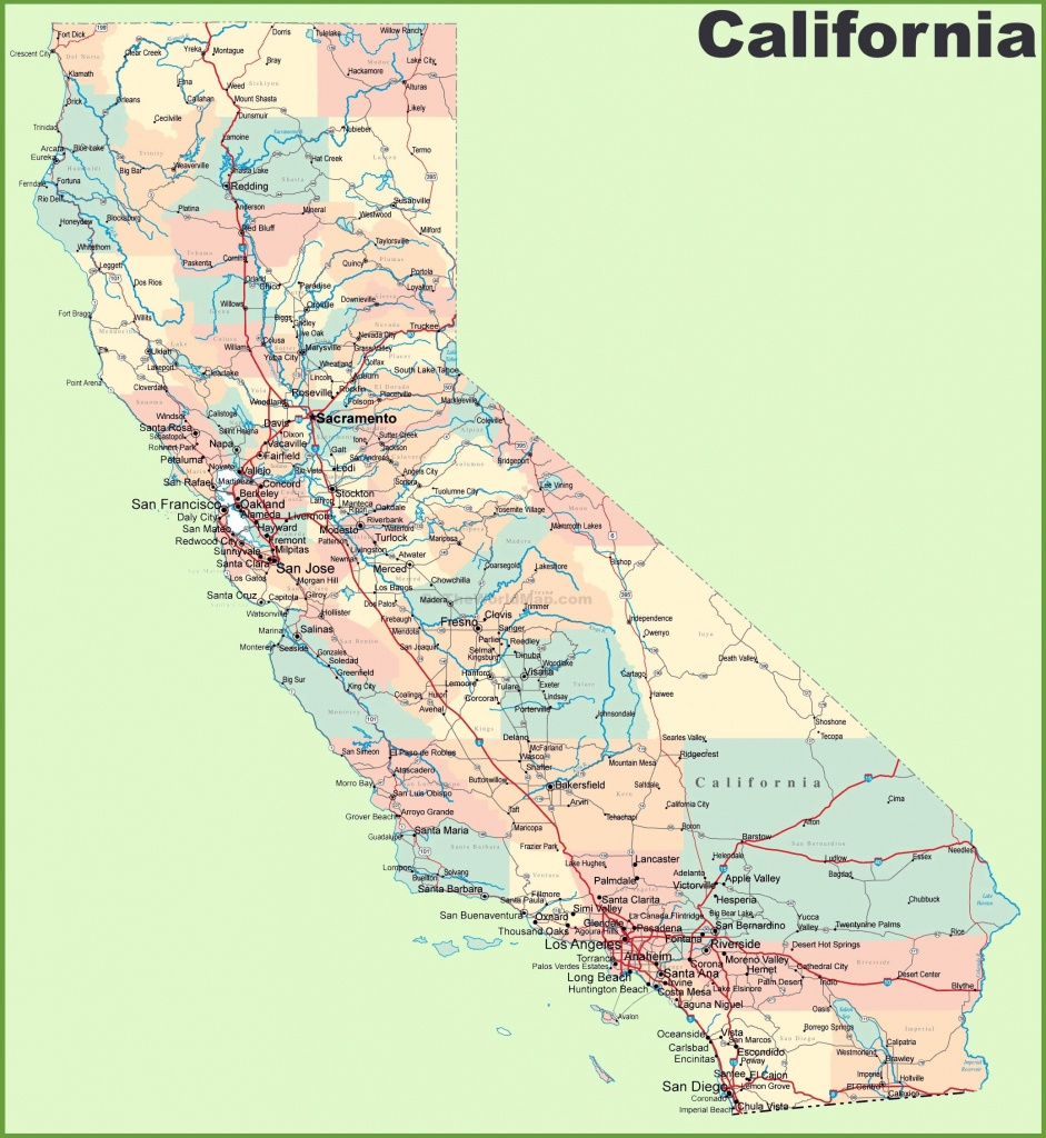 Large California Maps For Free Download And Print | High-Resolution - Map Of California Cities