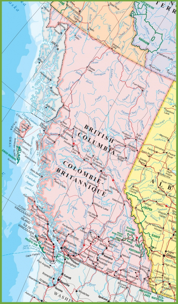 Large Detailed Map Of British Columbia With Cities And Towns - Printable Map Of Bc