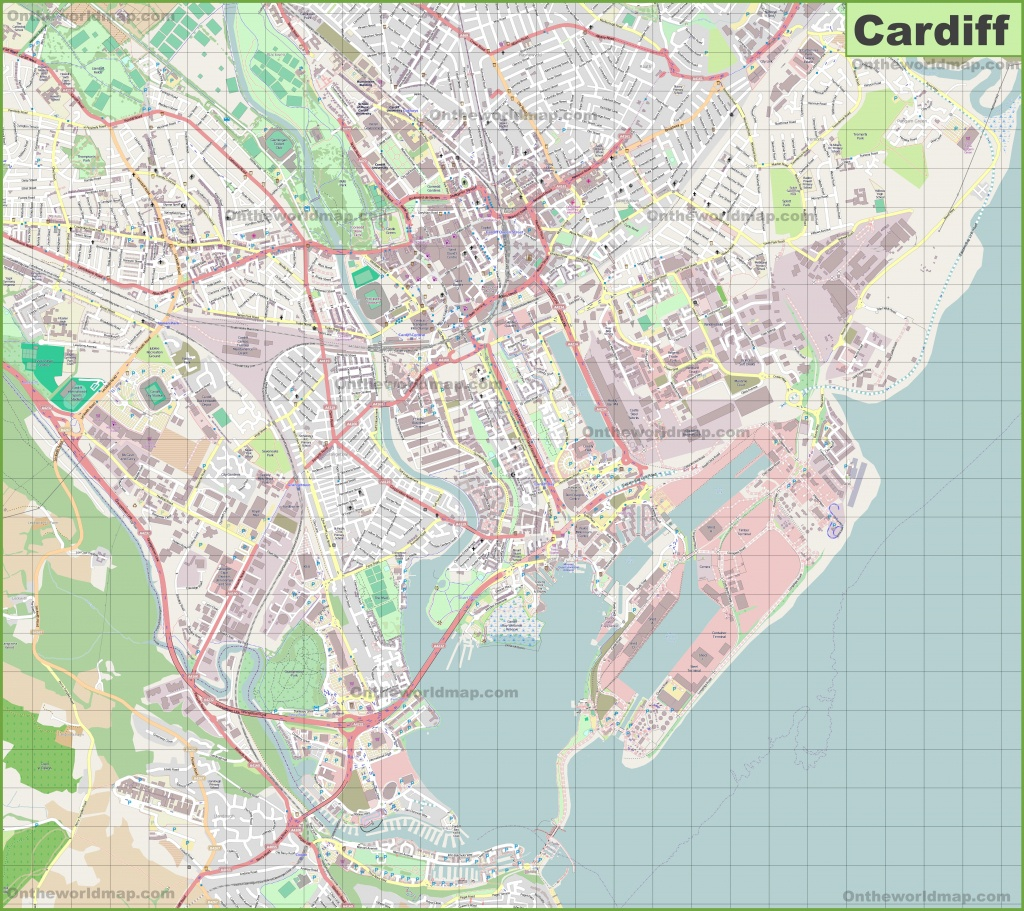 Large Detailed Map Of Cardiff - Printable Map Of Cardiff