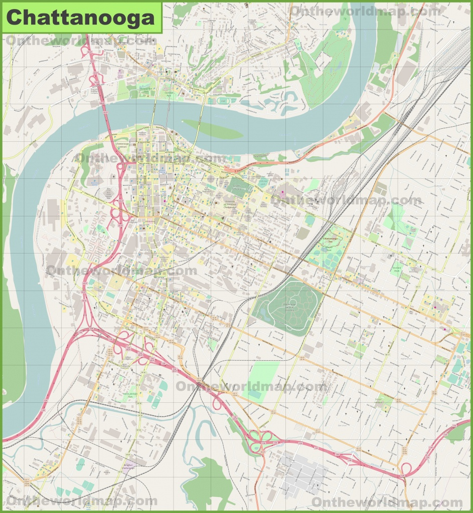 Large Detailed Map Of Chattanooga - Printable Map Of Chattanooga