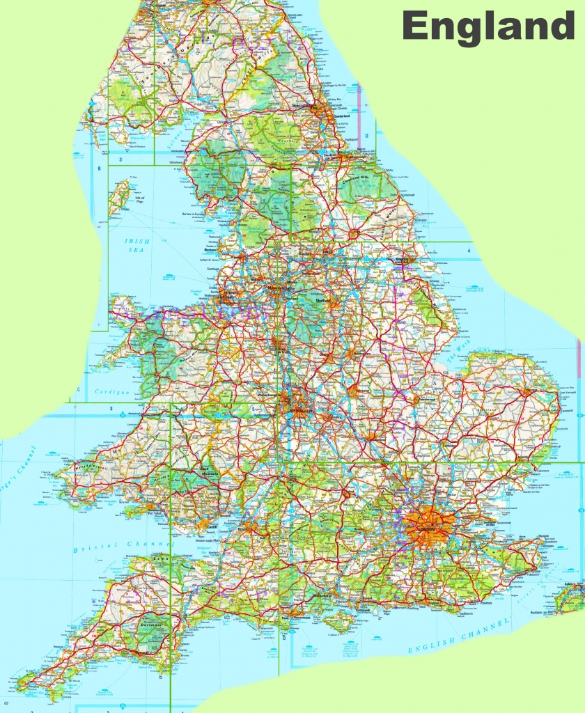 Large Detailed Map Of England - Printable Map Of England With Towns And Cities