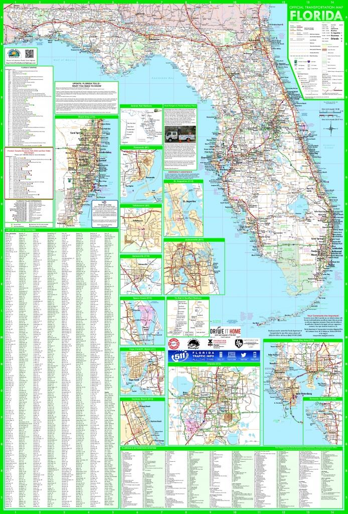 Large Detailed Map Of Florida With Cities And Towns - Map Of South Florida Towns