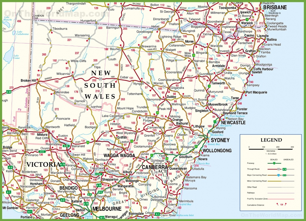 Large Detailed Map Of New South Wales With Cities And Towns - Printable Map Of Newcastle Nsw
