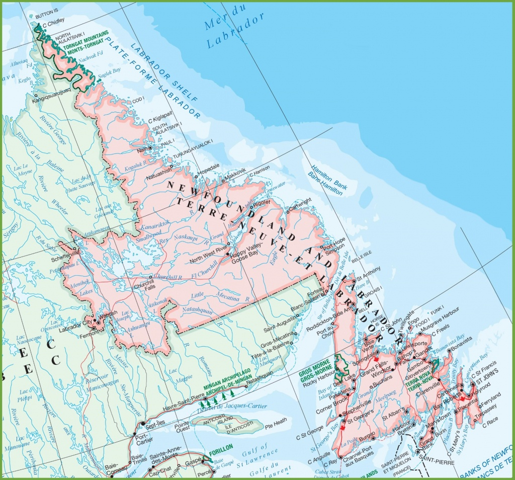 Large Detailed Map Of Newfoundland And Labrador With Cities And Towns - Printable Map Of Newfoundland