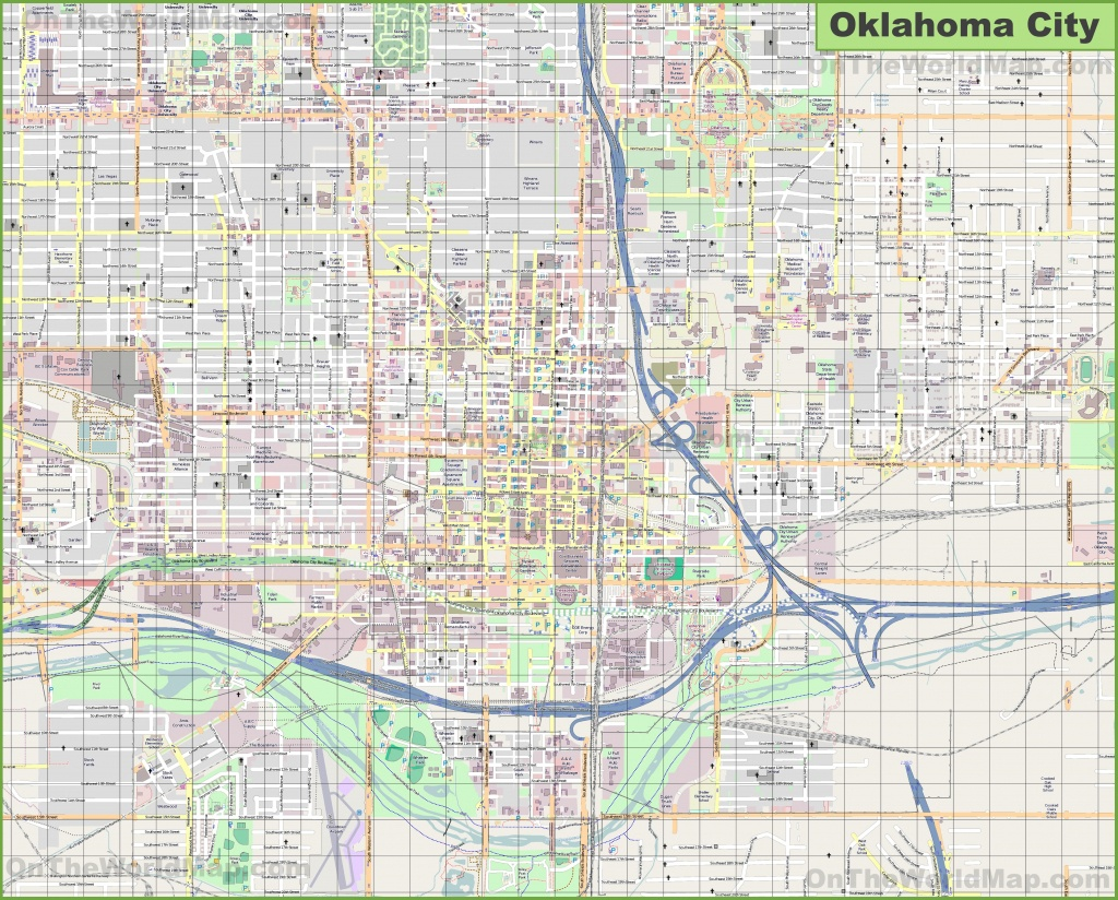 Large Detailed Map Of Oklahoma City - Printable Map Of Oklahoma