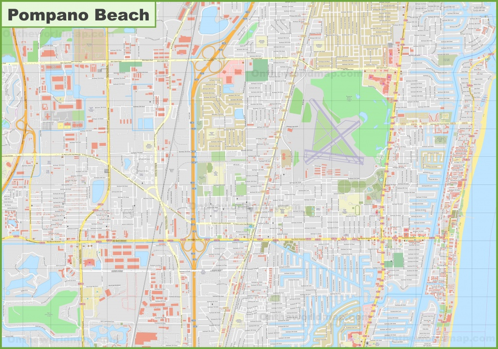 Large Detailed Map Of Pompano Beach - Pompano Florida Map