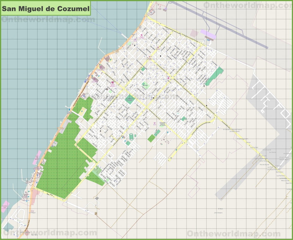 Large Detailed Map Of San Miguel De Cozumel - Printable Street Map Of Cozumel