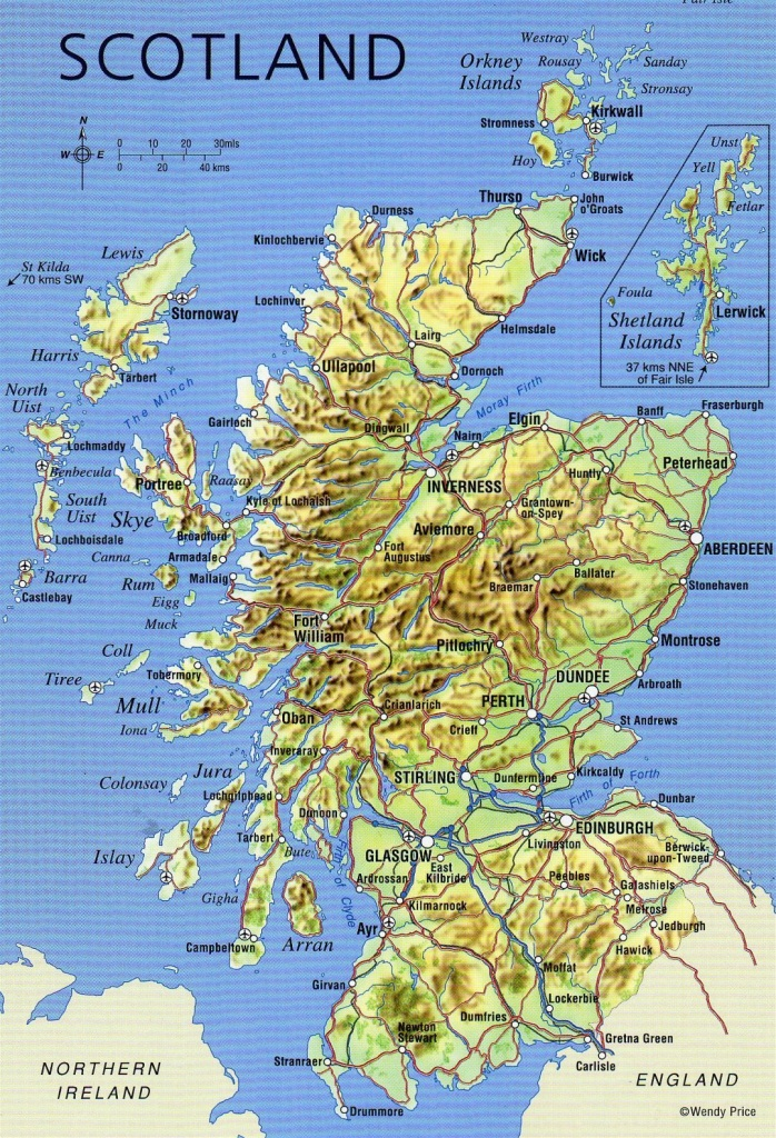 Large Detailed Map Of Scotland With Relief, Roads, Major Cities And - Printable Map Of Scotland With Cities