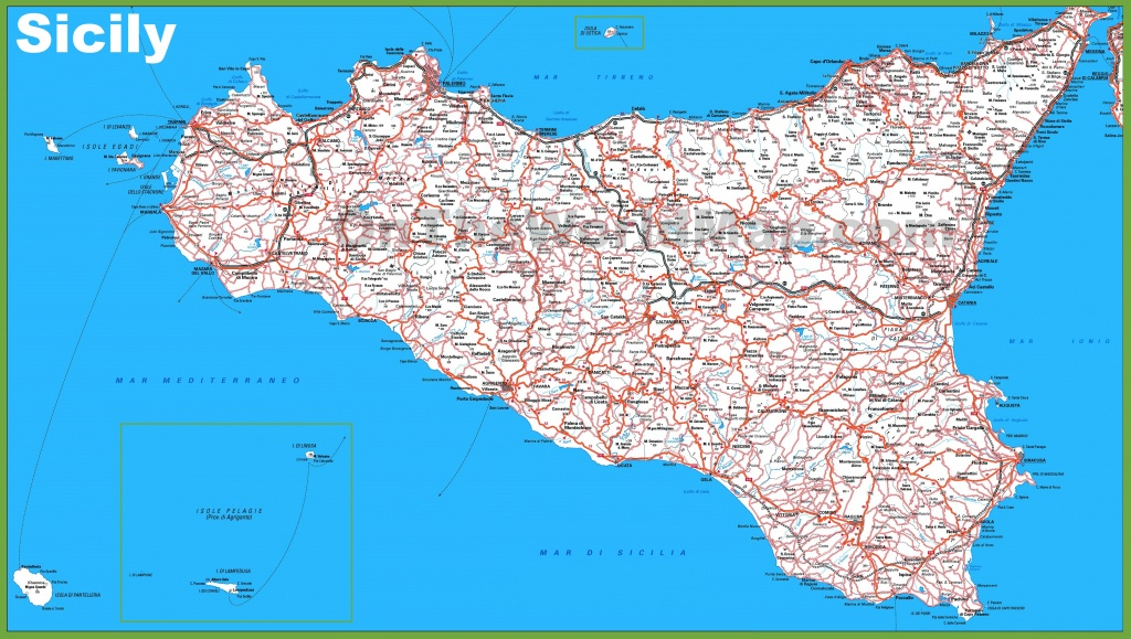 Large Detailed Map Of Sicily With Cities And Towns - Printable Map Of Sicily