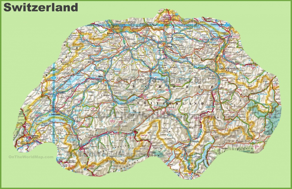 Large Detailed Map Of Switzerland With Cities And Towns - Printable Map Of Switzerland