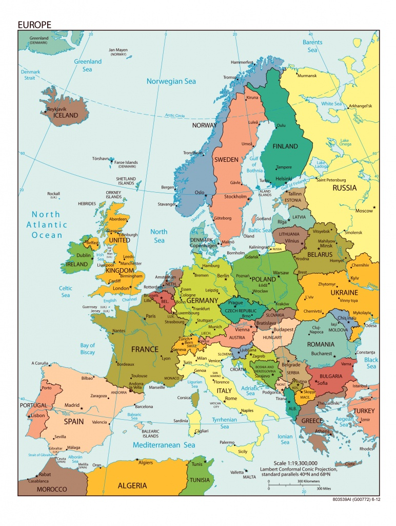 Large Detailed Political Map Of Europe With All Capitals And Major - Europe Map With Cities Printable