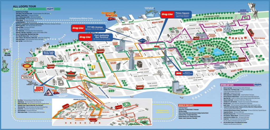 Large Detailed Printable Tourist Attractions Map Of Manhattan, New - Printable Street Map Of Manhattan
