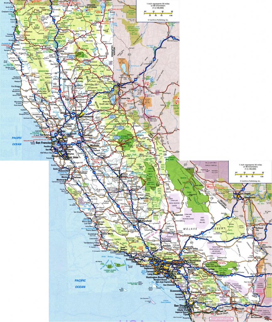 Large Detailed Road And Highways Map Of California State With All - California State And National Parks Map