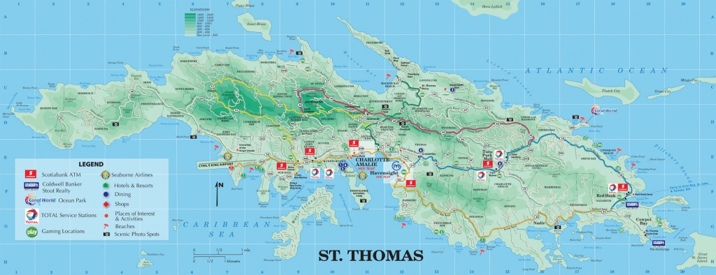 Large Detailed Road And Tourist Map Of St. Thomas U.s. Virgin - Printable Map Of St John Usvi
