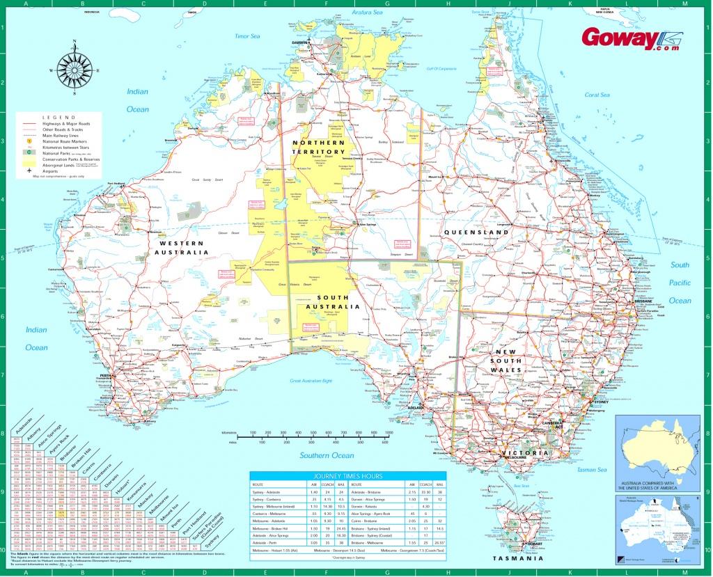 Large Detailed Road Map Of Australia. Australia Large Detailed Road - Printable Map Of Australia