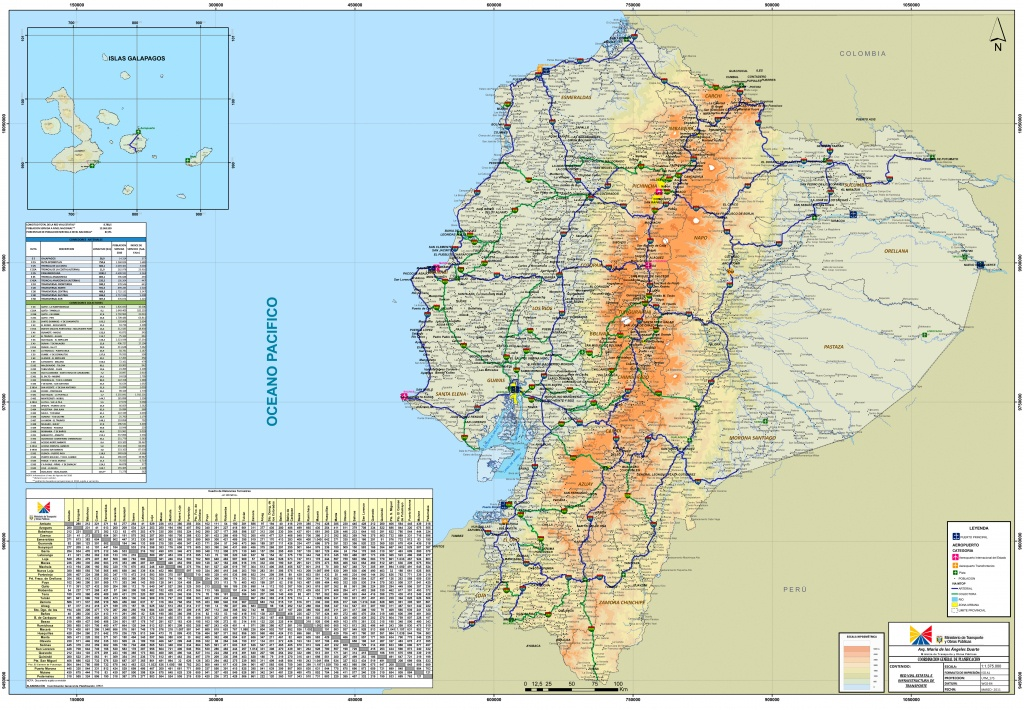 Large Detailed Road Map Of Ecuador - Printable Map Of Ecuador