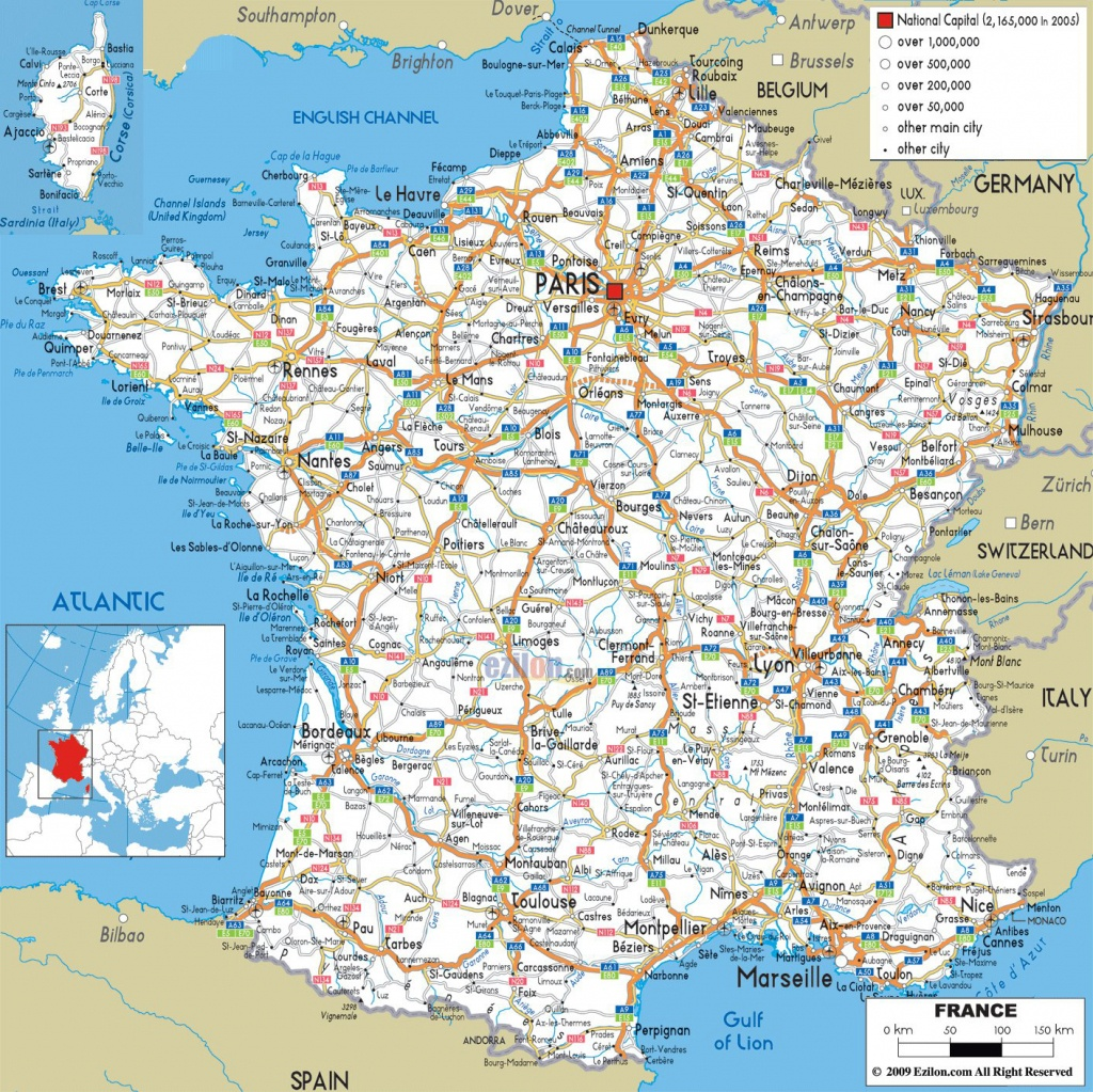 Large Detailed Road Map Of France With All Cities And Airports - Printable Road Map Of France