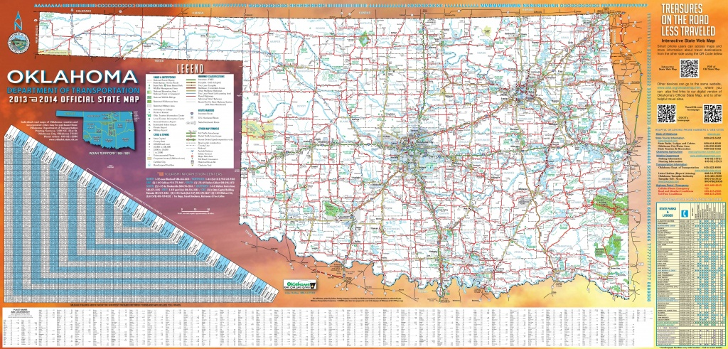 Large Detailed Road Map Of Oklahoma - Oklahoma State Map Printable