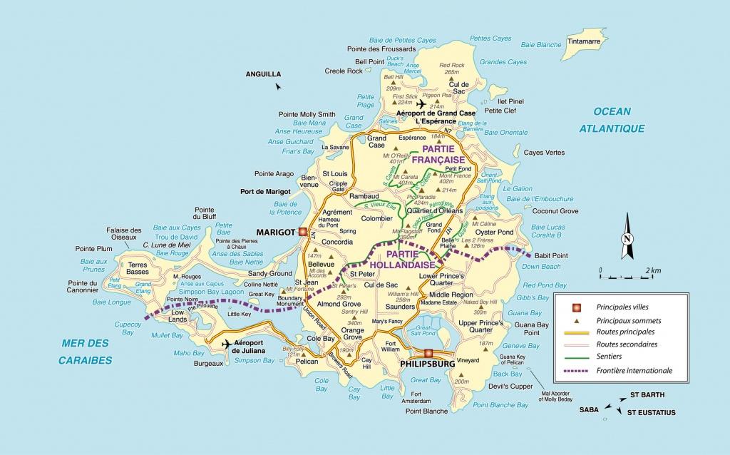 Large Detailed Road Map Of Saint Martin Island. St. Maarten Island - Printable Road Map Of St Maarten
