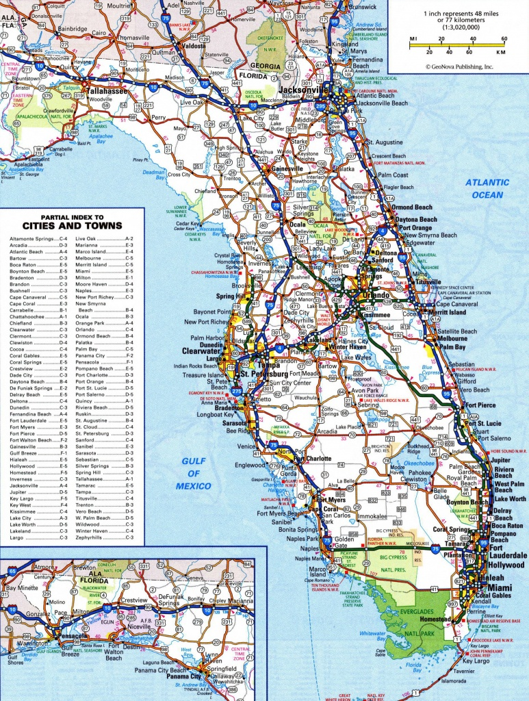Large Detailed Roads And Highways Map Of Florida State | Vidiani - Detailed Road Map Of Florida