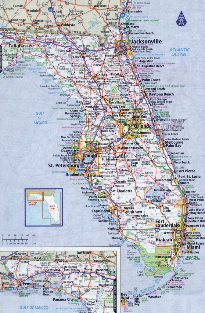 Large Detailed Roads And Highways Map Of Florida State With All - Large Map Of Florida