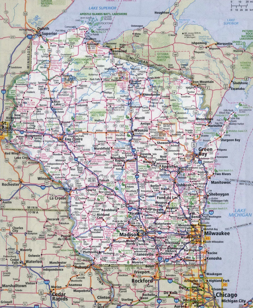 Large Detailed Roads And Highways Map Of Wisconsin State With All - Printable Map Of Wisconsin Cities