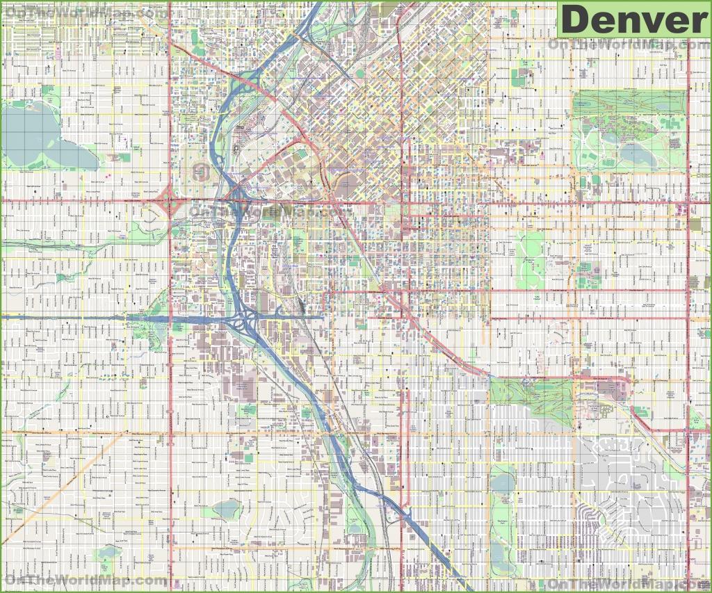 Large Detailed Street Map Of Denver - Denver City Map Printable