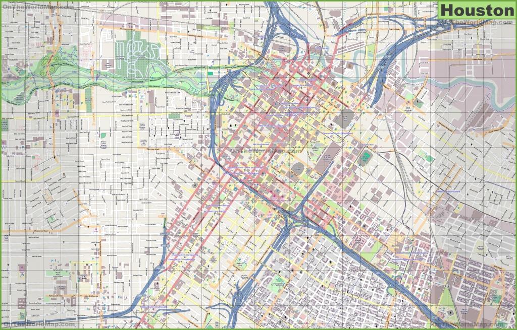 Large Detailed Street Map Of Houston - Downtown Houston Map Printable
