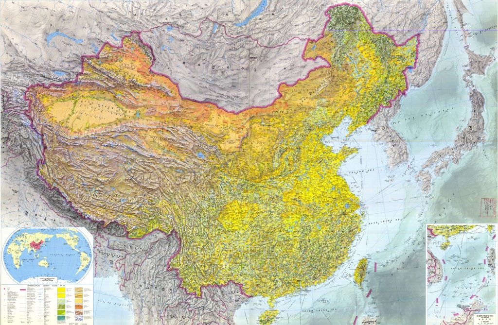 Large Detailed Topographic Map Of China - Free Printable Map Of China