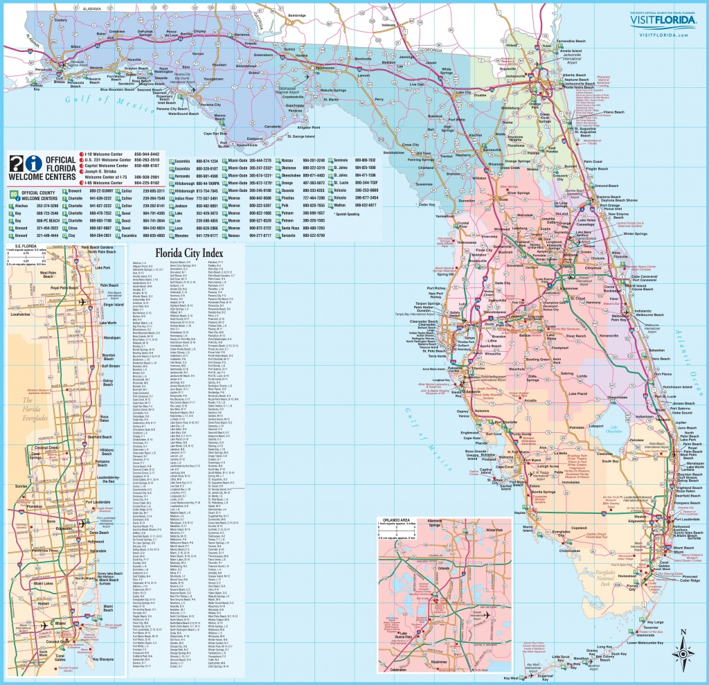 Large Detailed Tourist Map Of Florida - Map Of Lower Florida