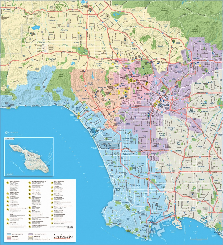 Large Detailed Tourist Map Of Los Angeles - Los Angeles Freeway Map Printable