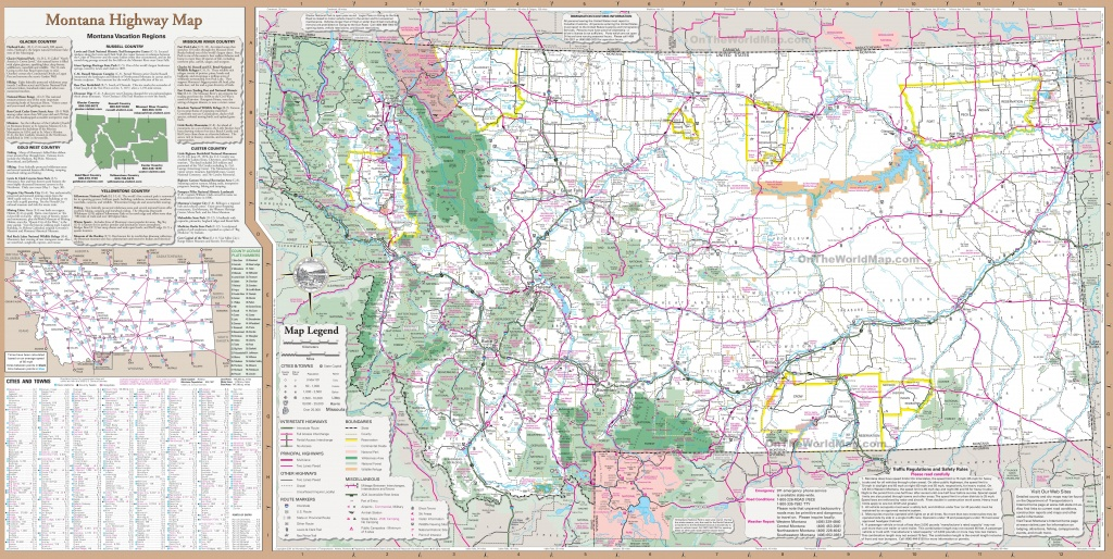 Large Detailed Tourist Map Of Montana With Cities And Towns - Printable Map Of Montana