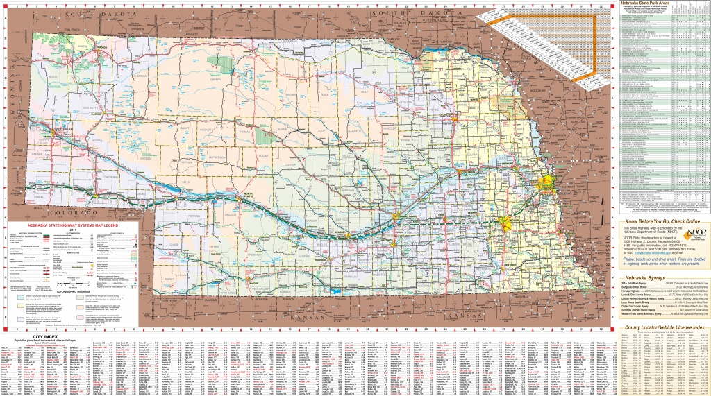Large Detailed Tourist Map Of Nebraska With Cities And Towns - Printable Map Of Nebraska