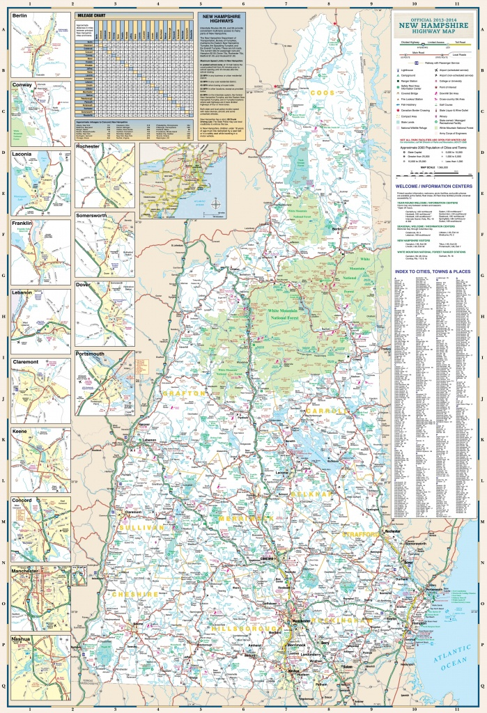 Large Detailed Tourist Map Of New Hampshire With Cities And Towns - New Hampshire State Map Printable