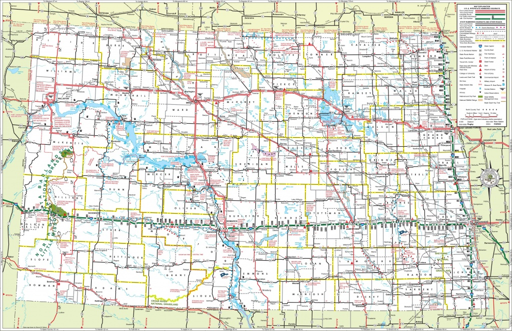 Large Detailed Tourist Map Of North Dakota With Cities And Towns - Printable Map Of South Dakota
