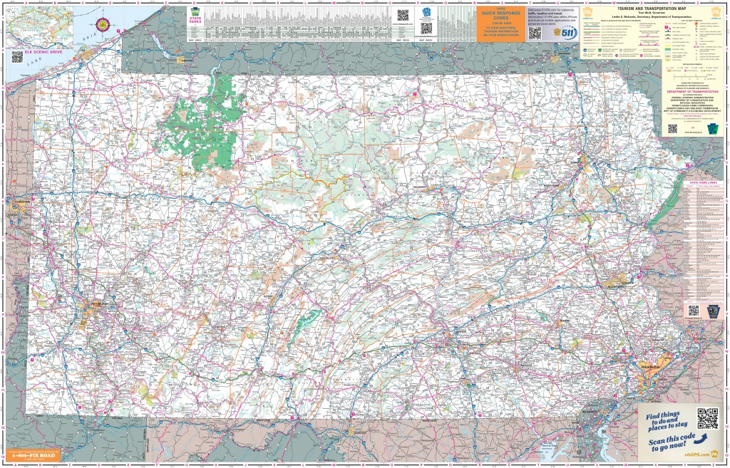 Large Detailed Tourist Map Of Pennsylvania With Cities And Towns - Printable Map Of Pennsylvania