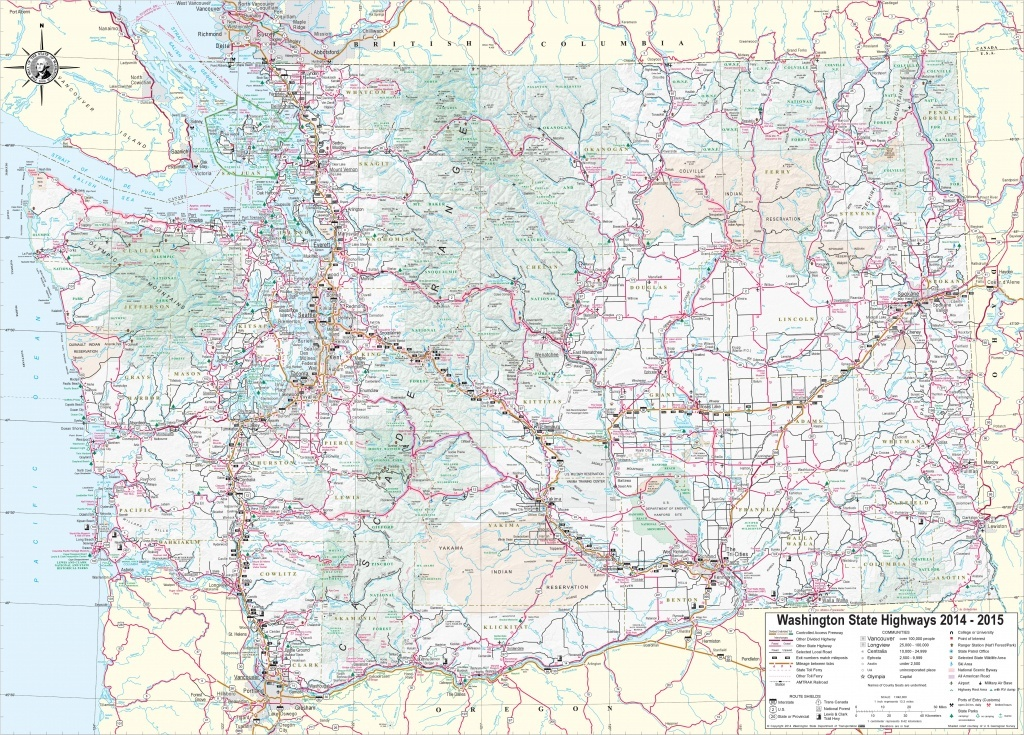 Large Detailed Tourist Map Of Washington With Cities And Towns - Free Printable Map Of Washington State