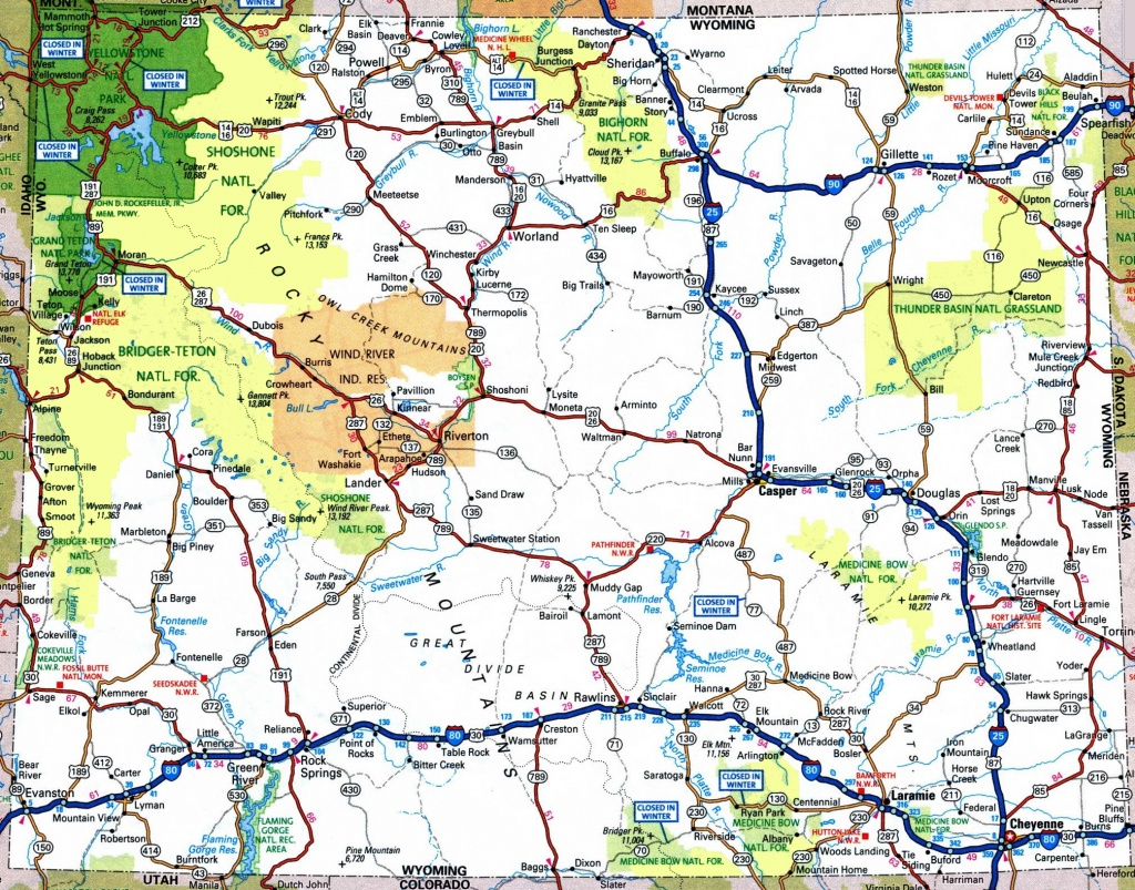 Large Detailed Tourist Map Of Wyoming With Cities And Towns - Wyoming State Map Printable