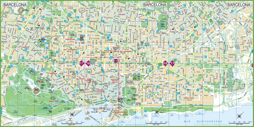 Large Detailed Tourist Street Map Of Barcelona - Printable Map Of Barcelona